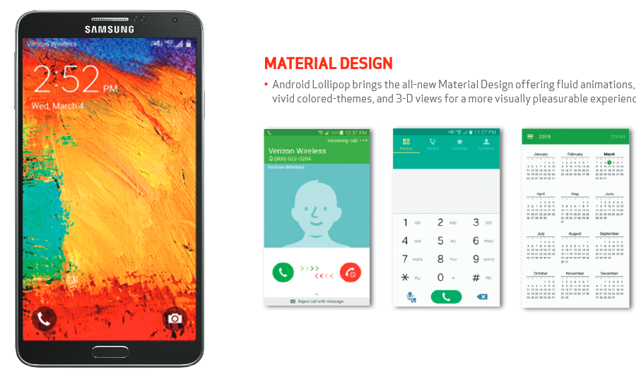"""""""Android 5.0 Lollipop update for Verizon's  Samsung Galaxy Note 3"""""""