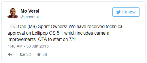 """HTC One M9 on Sprint Android 5.1 update"""